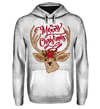Merry Christmas - Deer Flowers Head