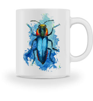 Beautiful Watercolor Bug - blue