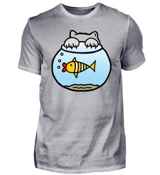 Aquarium - Katze will den Fisch fangen