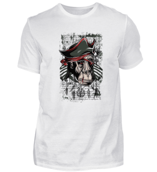 angry Pirate Monkey Art Design Pirates