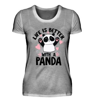 Pandabär Panda Bär Herz Kinder Shirt Mädchen Kind Niedlich Herz Tier Tiere Kindergarten Baby Süß Sprüche Spruch Cool Lustig Witzig Geschenk