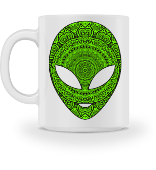 Ethnic Folklore Mandala Green Alien IIIa