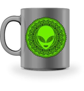 Ethnic Folklore Mandala Green Alien IIa