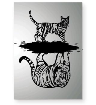 Katze Tiger Spiegel Poster Wohnung