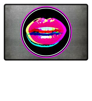 Lips 2 - crossed neon colored Button