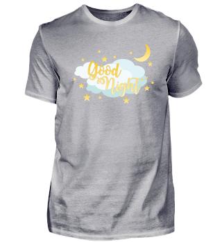 Gute Nacht Schlaf T-shirt Mond Sterne