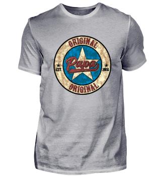 Original Papa US Style Shirt established 2018 werdender Vater Geburt Baby Kind Schwanger Schwangerschaft Geschenk