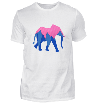 Elefant in pink und blau