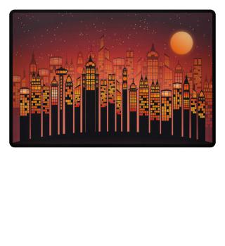Full Moon In The City - orange