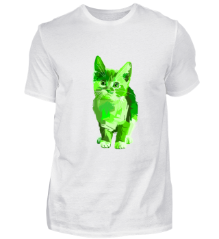 Green Pop Art Cat