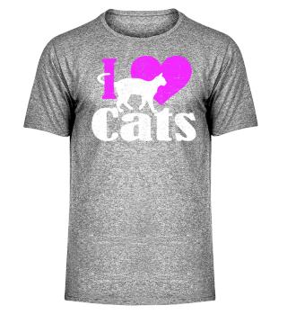 ★ I LOVE CATS grunge white pink