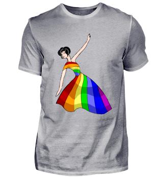 Tanzen Frau im Kleid - bunte Farben