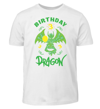Birthday Boy 3 Dragon T-Shirt Funny Gift