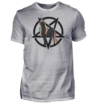 Einhorn mit Regenbogenmähne + Pentagramm