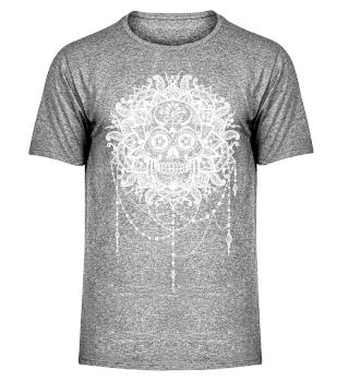 Dotwork Tattoo Skull Mandala 5 - weiss