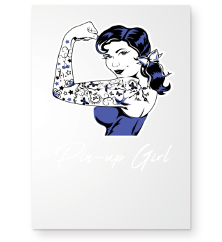 Tattooed Pin-up girl with lettering