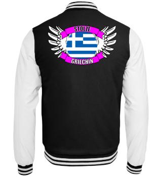 stolze Griechin mit Flagge und Flügel