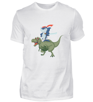 Shark riding Dinosaur T-Rex Funny Tee