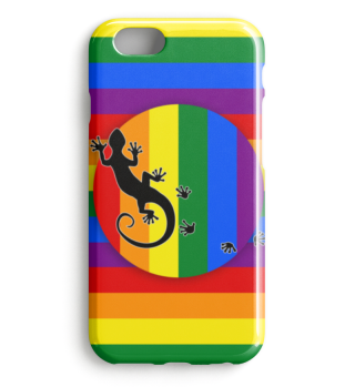 Gay Pride Rainbow Flag Gecko I