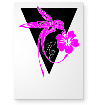 Triangle Hey HUMMING-BIRD pink Poster