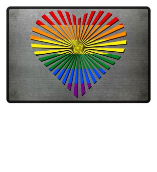 Gay Pride Rainbow Flag - Love Heart