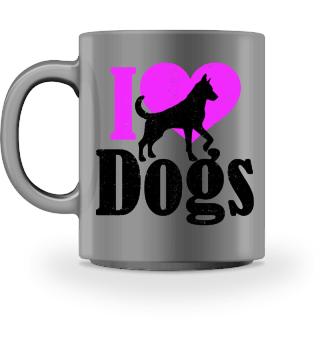 ★ I LOVE DOGS grunge black pink