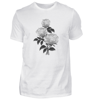 T-shirt with watercolor White roses