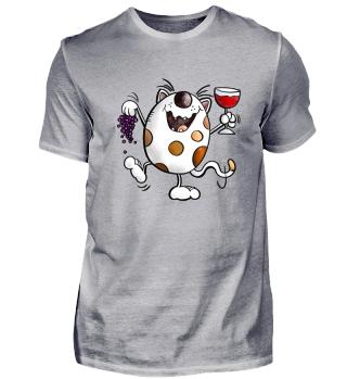 Wein Party Katze I Rotwein Cartoon