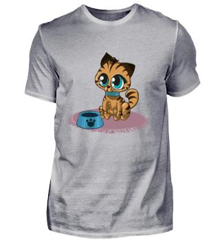 Katze mit Futternapf