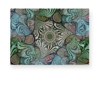 Labyrinth Mandala Blue Green Grey Poster