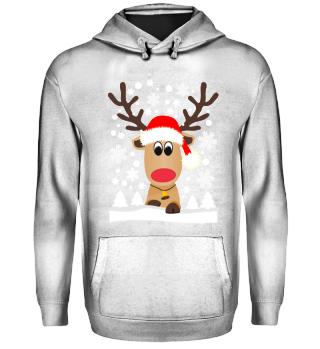 Lustiges Rentier Elch Hässlicher Weihnachtspullover Schneeflocken