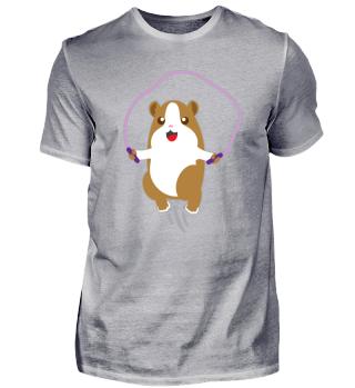 Kindermotiv: Hamster macht Sport und hüp