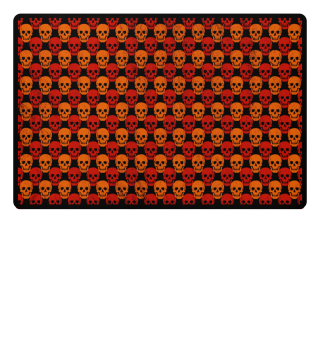 Symmetrical Skulls Pattern - red orange