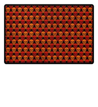 Symmetrical Skulls Pattern - red orange