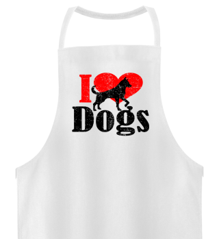 ★ I LOVE DOGS grunge black red