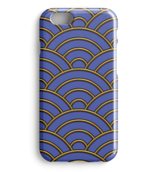 Geometric half-circles waves gold blue I