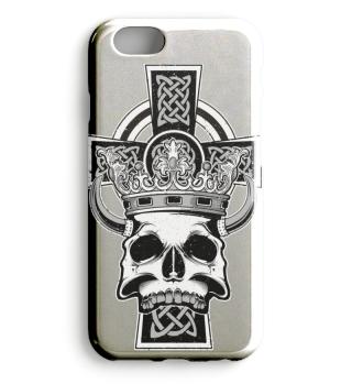 Celtic Cross King Skull Crown Horns 1