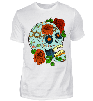 Skull türkis Totenkopf mit Rosen Sterne