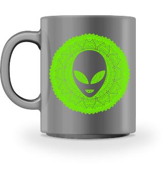 Ethnic Folklore Mandala - Green Alien Ia