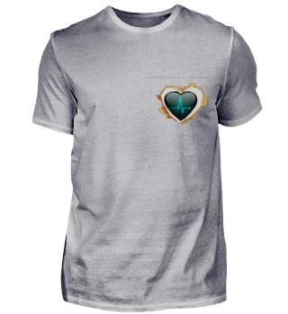 aufgerissenes Herz mit digitalem Herz
