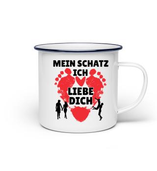 Mein Schatz - liebe dich - Emaille Tasse