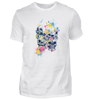 paintful coloured dot Skulls