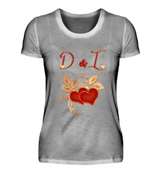 Paarshirt D und I Initialen