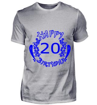 GIFT- HAPPY 20 BIRTHDAY BLUE