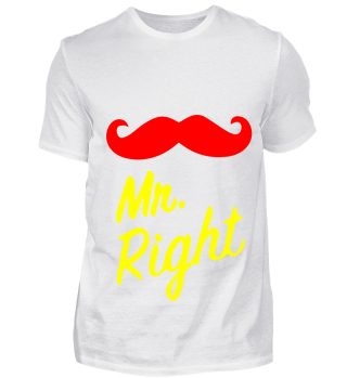 GIFT- MR RIGHT MOUSTACHE RED