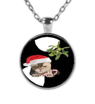Katze l grimmig Weihnachten Mistel
