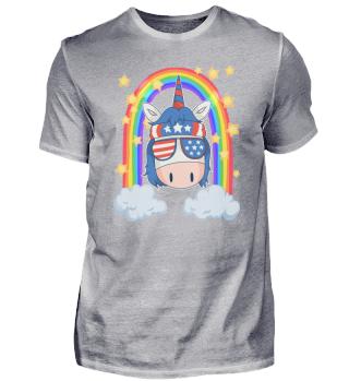 Cool US unicorn with rainbow