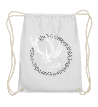 Winter Wreath with Deer - white