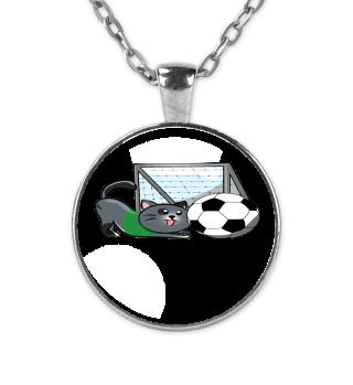 Soccer cat strikes towards the goal