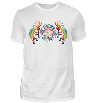 Kokopelli with Flowers Mandala Shirt
